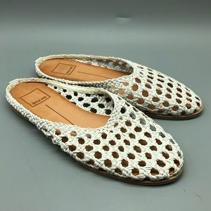 Dolce Vita white basket weave slide mules sandals